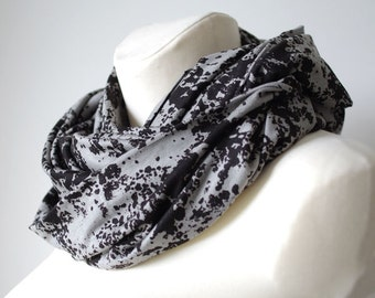 Huge infinity scarf, shrug, shawl, cowl and hood in one piece, gray and dark brown - READY to ship