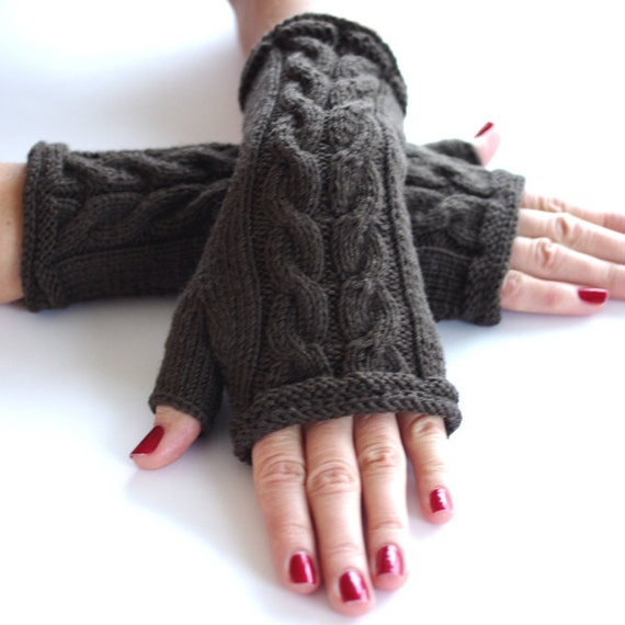 Cable knit PURE merino wool fingerless gloves, arm warmers, wrist warmers, fingerless mittens in khaki color - READY to ship