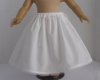 White Cotton Gathered Petticoat for 18 inch or AG Doll
