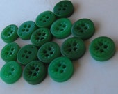 """15 Green Mini Dashed Round Buttons Size 5/16"""""""
