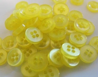 500 Lemon Yellow Mini 4 Hole Round Buttons Size 5/16""