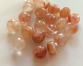Peach Quartz Faceted Rondelles-11mm