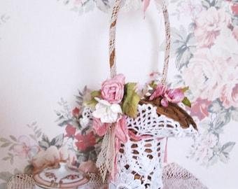 shabby chic basket   lace roses basket bridesmaid basket wedding shower decoration