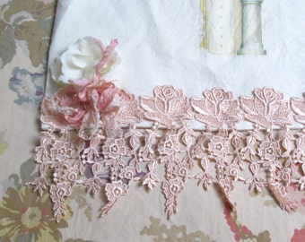 shabby chic tote bag pink roses pink lace ladies tote wedding decoration