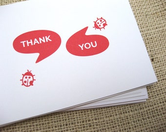 Thank You, Ladybugs, Cute, Red, Summer, Thank You Note, Funny, Feminine Cards - Set of 6