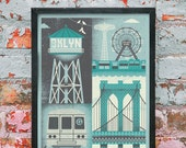 "Brooklyn Inspired Silkscreen Art Print - 11"" x 14"" - Midnight Color Variant"