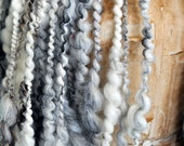 Super Bulky Art Yarn Cream White Black Natural thick n thin wool silk Gold warm soft knitting supplies crochet supplies