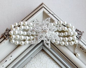 Bridal Pearl Rhinestone Pearl Bracelet Crystal Cuff Wedding Jewelry Snowflake BL048LX