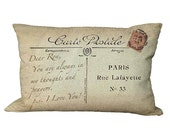 Lumbar Custom Postcard NOTE Oblong Pillow Cover in Choice of 18x12 20x13 24x16 Inch Pillow Cover