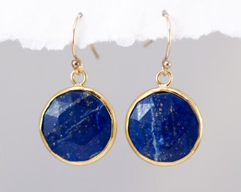 Blue Lapis Earrings - September Birthstone Earrings - Round Gemstone Earrings - Gold Earrings - Drop Earrings