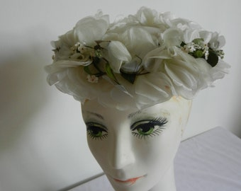 Vintage 1950s Floral White Hat from MacCleans