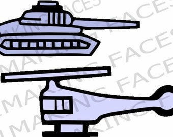 Tank and Helicopter SVG Cutting File Kit