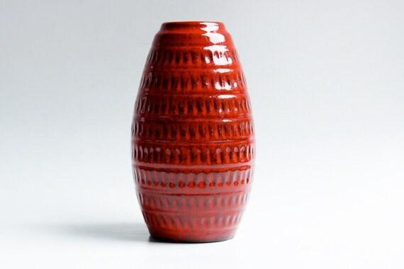 West German Red Vase - Jasba 60s
