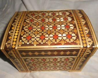 """Folk Art Box with Straw Marquetry Inlay Work Vintage Hand Made """"Belarus"""" Box - Ideal For Your Treasures"""