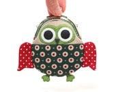 Cute starry green owl clutch purse