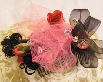 Pink and Black Feathered and Jeweled Hair Comb, Up-Cycled Vintage Jewelry, Sheer Bows