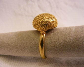 Small Dome Ring, Big Ring, Mica, Nugget, Natural Finish, Adjustable