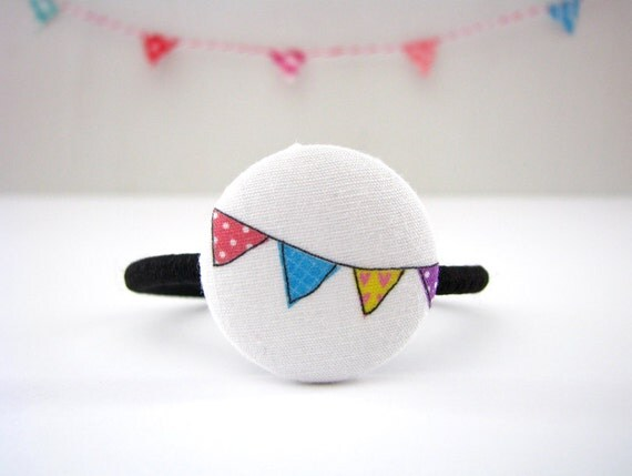 Button Ponytail Holder, Girls Hair Ties, Illustrated Ponytail,  It's My Party