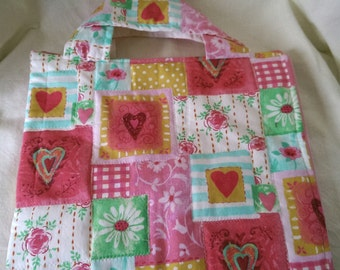 pastel hearts quilt ipad Tote