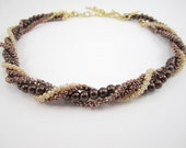 Bronze Farfalle for Interchangeable Multi Strand Necklace small peanut bead metallic coppery bronze necklace 2x4 seed bead texture rope bead