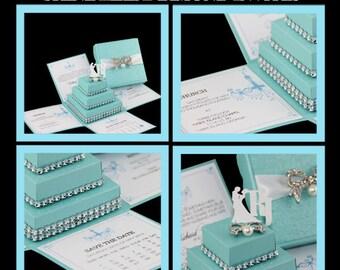 Tiffany Inspired Invitation, Tiffany Themed Wedding Invitation, Quinceañera Box Invitation, Sweet 16 Box Invitation