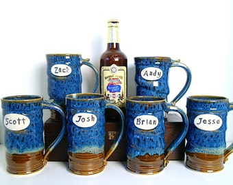 LARGE 24 ounce Beer Stein, Personalized Groomsman Tankard, blue brown, Wavy Profile Style by RiverStone Pottery