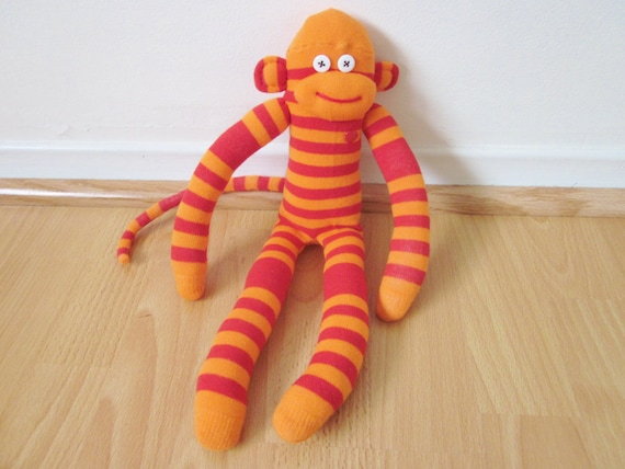 Chili pepper sock monkey plush doll - red and orange striped with red heart button