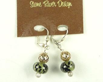 Earrings of Olive Green Handmade Lampwork Glass Beads
