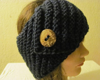 Lovely Navy Blue Headband/Headwrap/Earwarmer/Ski Headband Knitted With Coconut Butto