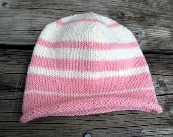 Pink & ivory striped knitted superwash wool beanie