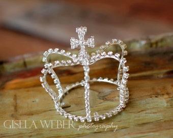 RTS - Silver Newborn Crown, Silver Baby Crown, Silver Crown, Boy Photo Prop, Newborn Photo Prop, Rhineston Baby Crown, Baby Halo, Baby Crown