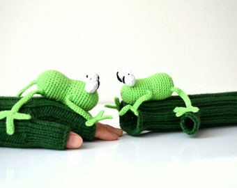 Original Design Cute Frog  gloves, Frog gloves,holiday finds, fingerless gloves ,children clothing, gift, birthday, boy, girl