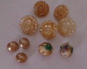 Glass Button Collection of 10, Includes Two Painted Glass Buttons