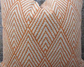 Designer Pillow Cover -  Lumbar, 16 x 16, 18 x 18, 20 x 20, 22 x 22, Euro - Tahitian Stitch Tangerine