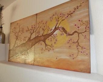 Cherry Blossom Wood burning/Painting Wall Art