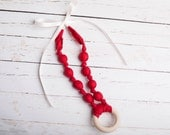 Teething Ring Necklace in Scarlet Red