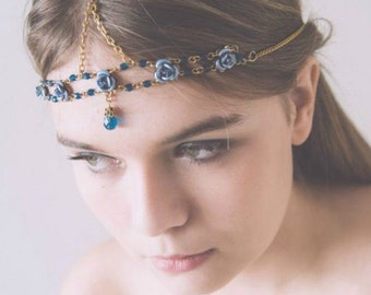 Hair Jewelry Floral Headpiece Something Blue Bridal Headpiece Rose Gold Headpiece Wedding Headpiece Head Chain Flower Headpiece Wedding Kayl