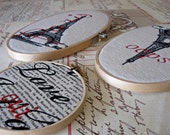 Eiffel Tower/ embroidered/ embroidery hoop art/ French/ Paris/ Upside down/ original design/ oops/ French decor