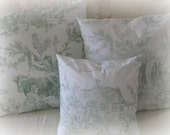 Vintage/ French/ toile/ green and white/ embroidered/ pillow cover/ farm scene/ vintage cottage/ rooster/ farm animals