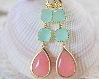 Coral Pink and Aqua Dangle Earrings. Drop Earrings. Long Earrings. Statement Earrings. Bridesmaids Earrings. Wedding Earrings.