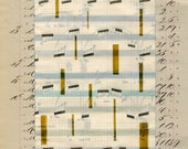 Page 25: May 12, 1884 to January 13, 2014 original daily art on vintage book page 1800s grey beige tan green yellow music white mixed media