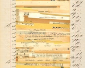 Page 135: original abstract paper collage art vintage antique book pages brown beige tan grey