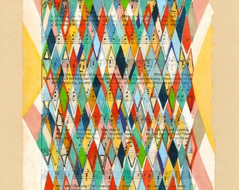 """Going Home: 8.5""""x11"""" archival PRINT of my original mixed media modern art argyle pattern blue yellow white pink green"""