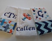 Boy's Personalized  Burp Cloths Set of 3  Airplane Collection