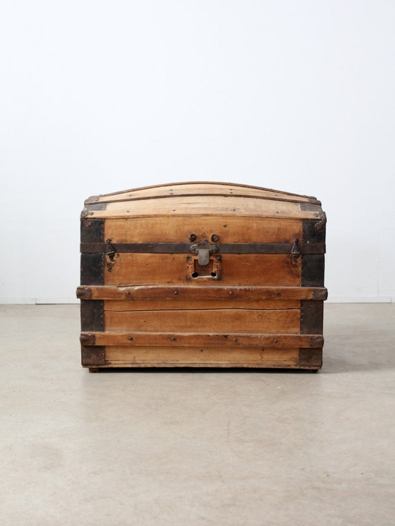 RESERVE antique barrel stave trunk, dome top wood trunk