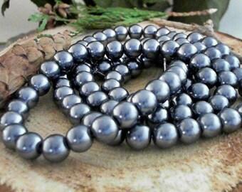 Dark Slate Gray Pearlized 8mm Round Glass Beads                 CC-90233