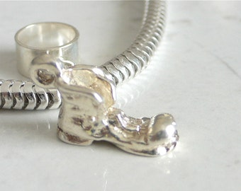 LUCKY OLD BOOT Sterling Silver Good Luck Lucky Charm Fits All Slide On Bracelets