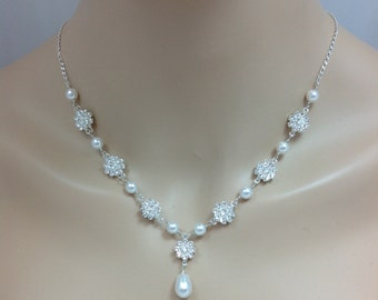 Swarovski Crystal Pearl Flower Bridal Necklace for Sweetheart Neckline, The Sierra