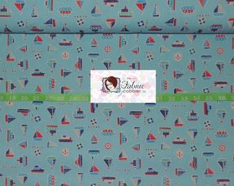 Cosmo Nautical Fabric Blue - anchors, sailboats, cruise ship, shipswheel - BTY cotton fabric - Japanese - Choose your cut