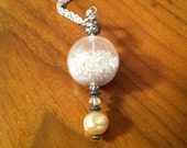 Snow Globe Pendant Necklace with Chunky Vintage Pearl Bead and Bali Bead